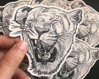 Lioness sticker, laptop decal, wall art, sticker collection, notebook sticker, lioness head, line drawing, bedroom decor, hand made sticker