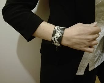 Inner tube and lace Cuff Bracelet - handmade