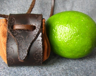 """Small Medicine bag, Small Neck Pouch. Leather Amulet bag, Medicine neck pouch. """"Grove"""""""