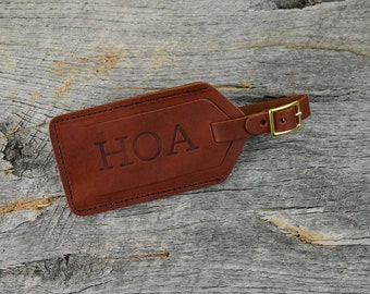 Personalized Leather Luggage Tag | Custom Monogram Suitcase Travel Tag Groomsmen Gift for Men Boyfriend Husband Dad Grad | Wedding |Chestnut