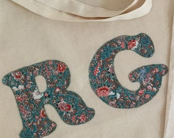 Personalised Initial Recycled Cotton Tote Shopper using Liberty of London Fabrics