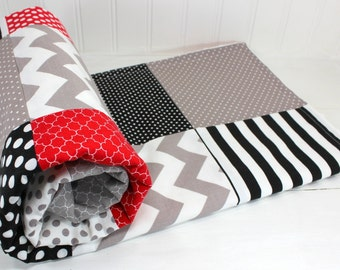 Baby Blanket, Nursery Decor, Minky Baby Blanket, Baby Bedding, Baby Shower Gift, Baby Quilt, Black, Red, Gray, White, Grey, Baby Boy
