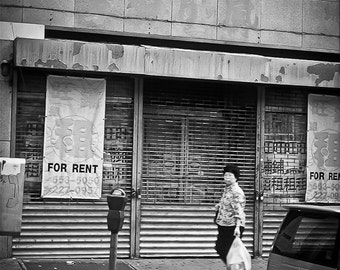 New York Photography chinatown black white city life street urban chinese woman New York City - Bakery for Rent - fine art photograph