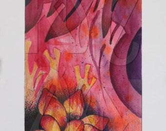 Matted Mixed Media Illustration of Flower on Abstract Background