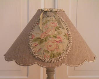 floral medallion and trimmings for a deco cottage chic linen Lampshade