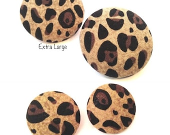 CLEARANCE 10% OFF Taupe Leopard Button Earring