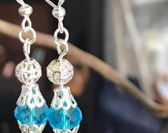 Blue Crystal Glass Bead Dangle Silver Plated Earrings