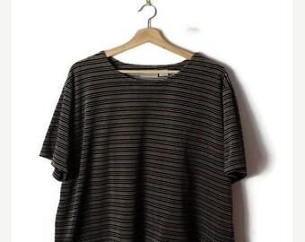 ON SALE Oversized Brown/Black Stripe Velour Short sleeve T-shirt