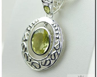 Lemon Topaz in Motion! French Monarch Setting 925 SOLID Sterling Silver Pendant + 4mm Snake Chain & FREE Worldwide Shipping