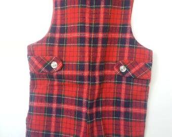 Vintage Good Lad plaid short overalls, size 4T, Christmas outfit