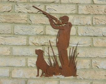 Gamekeeper Wall Decor / Shooting Decor / Gamekeeper Gift / Rusty Metal Gamekeeper Decor / Gun Dog Gift / Pheasant Garden Wall Art / Shooting
