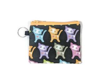 Skeleton Kitten Coin Purse, Cat Coin Pouch, Kitten Mini Zipper Pouch, Zipper Wallet, ID Holder, Card Wallet, Coin Pouch Keychain