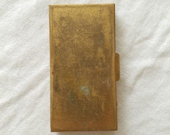 Brass Case, Card Case, Vintage Case, Small case, small brass box, engravable, groomsman gift, stage prop