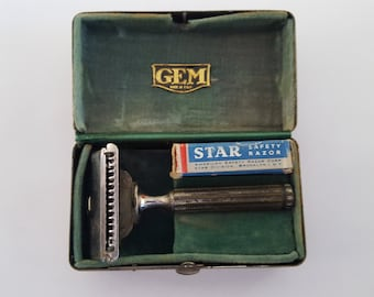 Antique Gem Razor shaving kit, original box, single edge, blade pack circa 1946, Gem Mfg. Brooklyn NY
