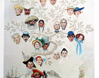 Family Tree, Triple Self Portrait - Large Norman Rockwell Print - 1979 Vintage Book Page - Saturday Evening Post Cover - 14 x 12