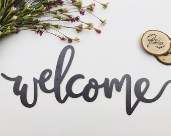 Welcome Metal Sign (Handlettered)