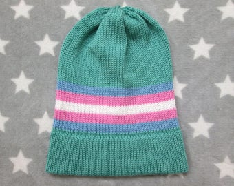 Knit Pride Hat - Trans Pride - Sea Green - Slouchy Beanie