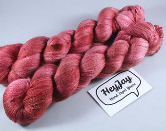 Hand Dyed Lace Merino/Silk Yarn - Rouge