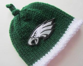 PHILADELPHIA EAGLES, Hand Knit Baby Hat, Football Baby Hat, Baby Hat, Eagles Baby Hat, Philly Baby, Eagles Baby, Eagles Baby Hat