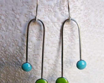 Enamel Earrings, Double Dipper Dangle, Lime Green and Robin's Egg Blue Kiln Fired Glass Enamel and Sterling Silver Earrings