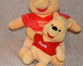 """WINNIE The POOH ( 2 ) 14"""" & 10""""..DISNEY, Both  New wo tags,  Pooh Red Shirts.. Great Christmas Gift !"""