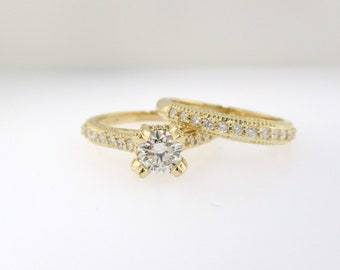 Diamond Engagement Ring Set, 18k Yellow Gold Vintage Wedding Ring Sets, Diamonds Bridal Rings Set, 1.02 Carat GIA Certified Unique Handmade