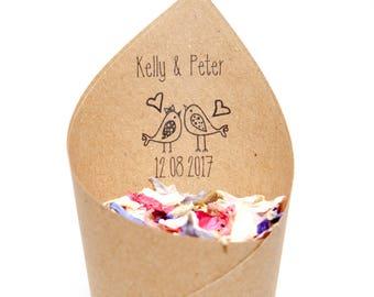 Wedding confetti personalised  Love Birds Confetti cones Pack of 5 (NEW)