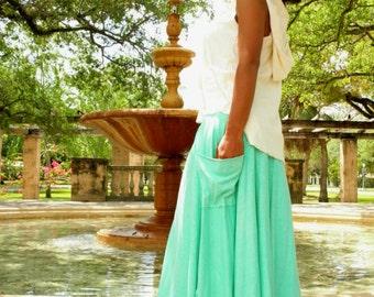 Hemp skirt custom made and hand dyed // organic clothing // eco-friendly // hemp clothing // maxi skirt with pockets