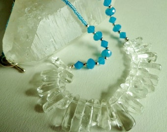 Clear Quartz Gemstone Beads Necklace, Icy Blue Glass Crystal Beads Necklace, Statement Necklace, Jewelry Gift for Her, Beaded Necklace