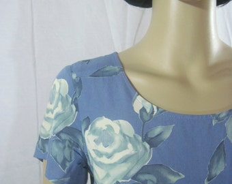 1980's Slate Blue ROSE PRINT DRESS by Cinnamon Girl size xs