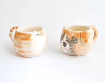 Becher Keramik benutzerdefinierte dekoriert als Ihr Lieblingstier. Becher personalisierte Hund. Becher-Custom Katze als Foto. Massanfertigung