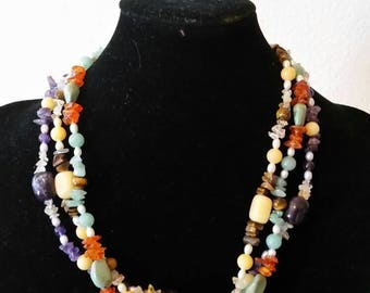 Vintage Lee Sands Torsade Natural Gemstone Necklace in New Condition with box.