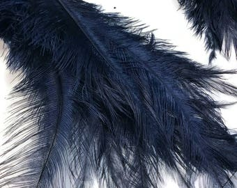 Ostrich Feathers, 20 Pieces - NAVY BLUE Mini Spads Ostrich Chick Body Feathers : 3389