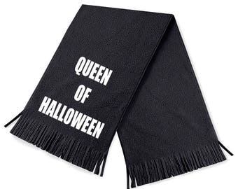Queen of Halloween - funny scarf - funny scarves - black scarves - black scarf - Halloween - Halloween scarves - goth - goth scarf