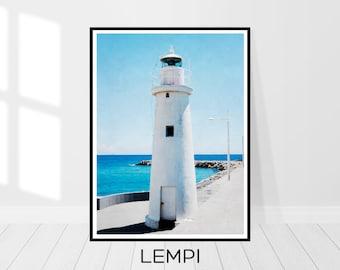 Lighthouse Print, Lighthouse Art, Lighthouse Decor, Art Modern, Nautical Wall Decor, Nautical Home Decor, Beach Art Print, Instant Download