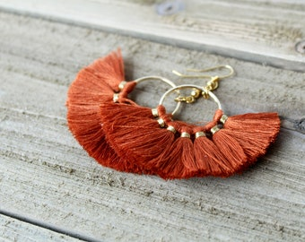 Tassel Hoop Earrings - Burnt Orange