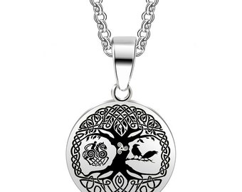 PREORDER - Tree of Life Stainless Steel Viking Necklace - Yggdrasil, Triskele, Sleipnir, Odins Ravens, Norse Gods, # M-P173