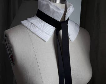 NEW White collar with grosgrain ribbon/Victorian couture/High collar/Ruffle collar/Detachable collar/Couture collar/Pleated collar/High neck
