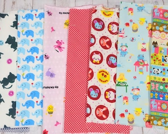Value set Japanese fabric scrap animals Print set of 8  pieces 9.6 square  inch each perfect for patchwork fabric covered button etc  sc07