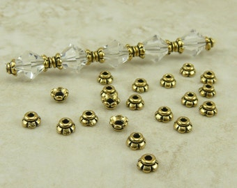20 TierraCast 4mm Scalloped Tiny Bead Caps > 22kt Gold Plated Lead Free Pewter - I ship Internationally 5596