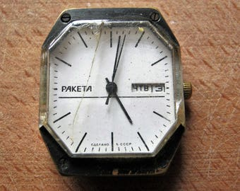 Women's watch RAKETA for parts or repair Horology Mechanical watch Craftwork details Recycled watch parts Clockwork jewelry Steampunk art