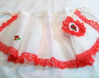 Vintage Apron, White Sheer, Half Apron,Vintage Sheer Apron, Red Rose Apron, Chiffon Apron, Vintage White and Red Apron, Apron with Rooster