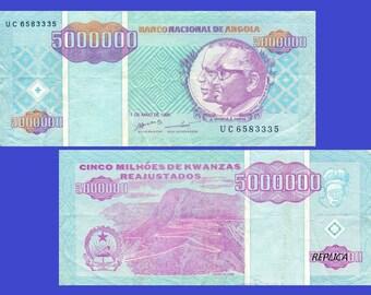 Angola  5 000 000 Kwanza Reajustado 1995 note bancnote - Replica - Reporductions