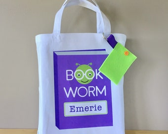PERSONALIZED Bookworm Library Bag