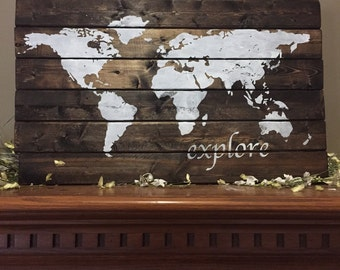 And they lived happily ever after large sign happy ever after world map pallet world wood sign explore world map america wood pallet gumiabroncs Choice Image