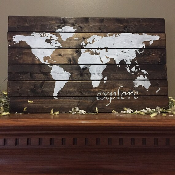 World map pallet world wood sign explore world map america gumiabroncs Image collections
