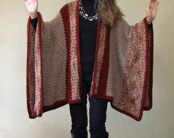 """Crochet Ruana Blanket Poncho PATTERN / Blanket Wrap / Easy Crochet Pattern / Made in Canada / """"Harvest Ruana"""""""