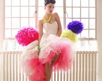 Ombre Pink Tulle Wedding Dress, strapless, ivory, satin, dip die, dipped hem, sweetheart neckline, vintage, elegant, 1950's