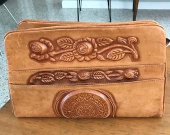 Amazing Vintage Multi-compartment Tooled Leather Purse