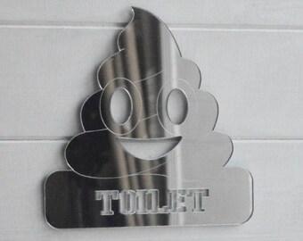 Toilet Poop Emoji Acrylic Mirrored Door Sign